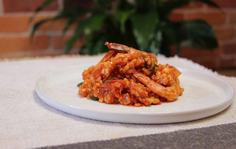 Risotto de tomates et crevettes
