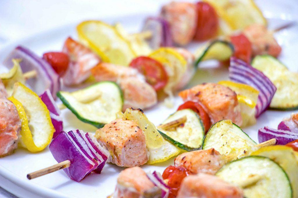 Salmon kebabs 1